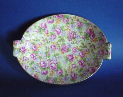 Vintage Grimwades Royal Winton Chintz 'English Rose' Art Deco Dish c1951